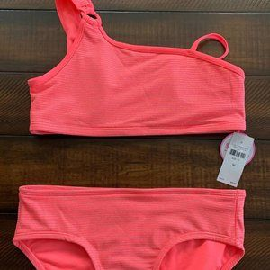 Pink Striped Two Piece Swimsuit